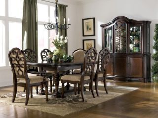EDEN 7pcs TRADITIONAL CHERRY RECTANGULAR DINING ROOM TABLE CHAIRS SET