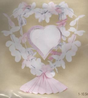 Flower Centerpiece Wedding Table Heart Pink Fabric New