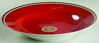 fitz floyd medallion d or orange rimmed soup bowl