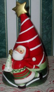 Fitz Floyd Merry Jingle Lidded Box Santa Leaning Christmas Tree W Star