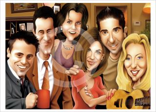 Friends Caricature A3 Art Giclee Print Le Signed by Artist Drawing