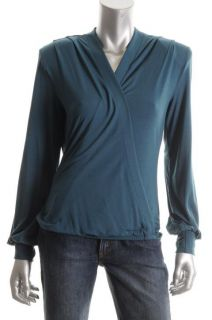 Fluxus New Soul Blue Jersey Padded Shoulder V Neck Blouse Shirt Top M