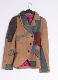 Desigual Womens CHAQ WORLD Tan Wool Blend Patch Coat Jacket
