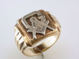 Antique Art Deco Mens Masonic Letter G Compass Solid Gold Ring