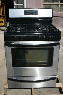 Black Frigidaire Stainless Steel Natural Gas Oven with 4 burner range