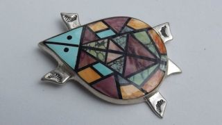 FRANK YELLOWHORSE STERLING SILVER TURQUOISE PURPLE SPINY OYSTER INLAY