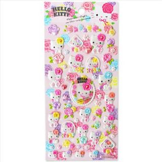 hello kitty foam hologram stickers sheet pink rose