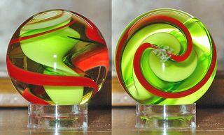 Signed FRITZ GLASS 1 Light Green & Red Ribbon Art Glass Marble