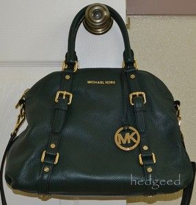 Authentic MICHAEL KORS Bedford Bowling Satchel Bag   Hunter Green