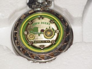 FRANKLIN MINT JOHN DEERE WATERLOO BOY TRACTOR POCKET WATCH WITH POUCH