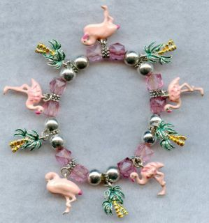 pink flamingo palm tree stretch charm bracelet