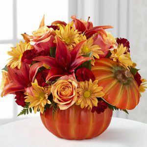 FD Bouniful Bouque 12 F2 in Ceramic Pumpkin Fresh Flower Delivery