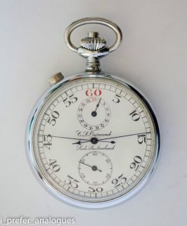 Gallet C L Guinand Locle Stop Watch Rattrapante High Grade 15 Jewels