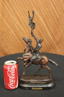 Bronze Sculpture by Frederic Remington Buffalo Signal Indian on