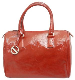 Furla Patent Leather Satchel Bag Purse Cherry Red Handbag New