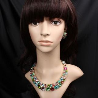 ARINNA Multi Colorful Rhinestone Necklace Party Jewelry Set Swarovski
