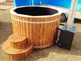 Wood Fired hottub Wooden Bath Barrel Garden Pool Outdoor Spa Whirlpool