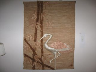 Vtg. Don Freedman Deco Textile Pink Flamingo & Palm Tree Wall Hanging