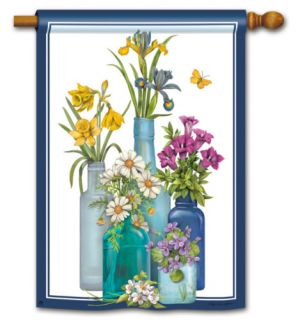 Fresh Cut Flowers in Jars Large Garden Banner Flag 28x40 Spring