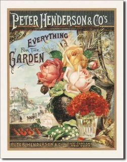 Rose Garden TIN SIGN vtg metal home wall decor victorian flower seed
