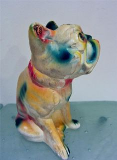 French Bull Dog Frenchie 1940s Carnival Chalkware Figurine Colorful