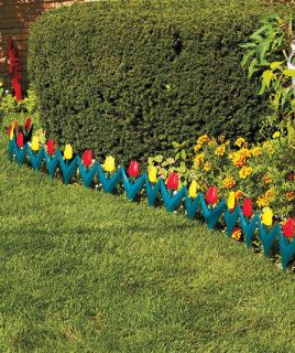 Flower Floral Tulip Garden Yard Border Edging Walkway Stakes