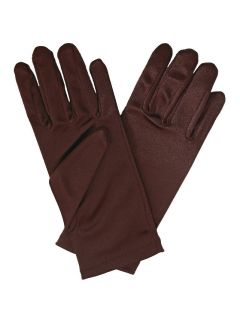 Girls Chocolate Brown Long or Short Formal Satin Gloves