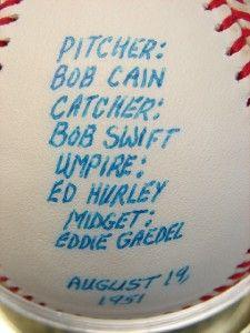 1951 Bob Cain / Eddie Gaedel Autographed Signed Story Baseball
