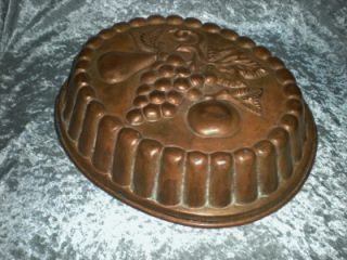 vintage french copper large oval fruit design mold