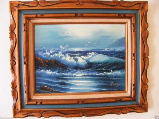 Original H Gailey Oil Seascape Painting Signed Carved Wood Frame