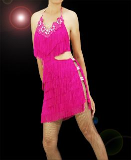 Pink Samba Latin Salsa Ballroom Fringe Flora Lace Dance Dress Costume