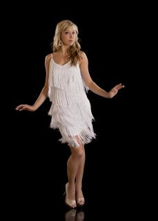 Fringe Flapper Dress 1920s Charleston Ladies White New