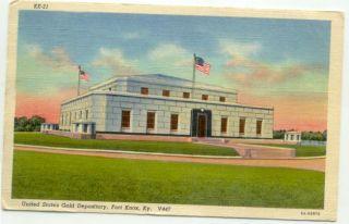 Fort Knox KY US Goold Depository Linen c1950s Postcard