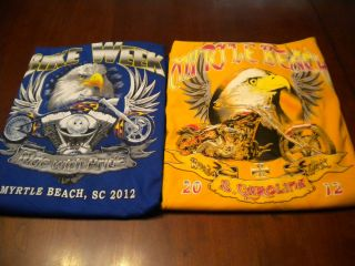 Lot of 2 Myrtle Beach Bike Week T Shirts 2012 Size 2 XL Eagle Prints