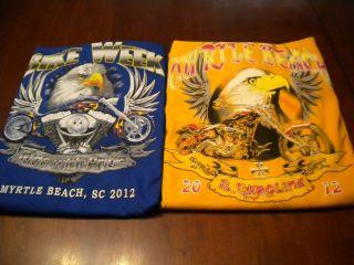 Lot of 2 Myrtle Beach Bike Week T Shirts 2012 Size 2 XL Eagle Prints