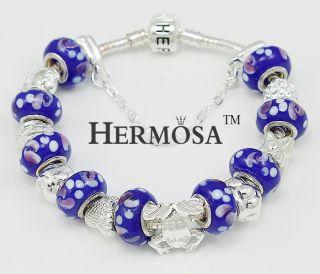 Gift Hermosa Elegant Purple Murano Bead Crystal Frog Silver Bracelet 8