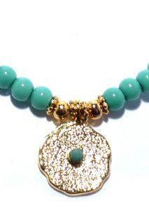 Ashiana New Gold Turquoise Bead Friendship Bracelet