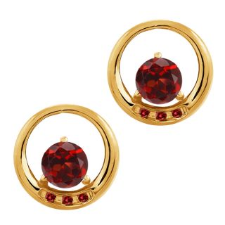 24 Ct Round Red Garnet and Cognac Red Diamond 10K Yellow Gold