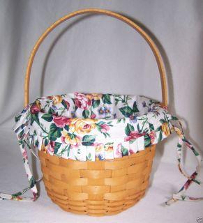 Longaberger Basket 1997 Fruit Basket Swining Handle 7 Tall Rose Floral