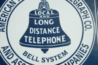 Old Style 8 Public Telephone Telegraph Bell Phone Porcelain Sign D