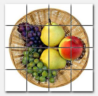 Unknown Fruit Basket Ceramic Mural Backsplash Kitchen 32x32 in