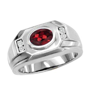 18 Ct Red Garnet White Diamonds Mens Silver Ring