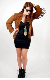 Vtg 70s Suede Leather Fringe Boho Hippie Jacket Western Motorcycle