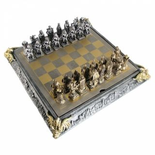 Scratch & Dent Medieval Knights Chess Set with Storage Board