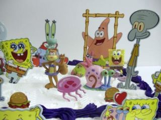 SquarePants Birthday Cake Topper Set w Patrick, Squidward, Sandy, Gary
