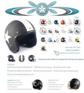 Casque Casco Jet Helmet de Moto Scooter Harley Vespa s M L