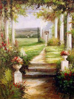 Garden Flowers Bridge Water Lily Pond Art Oil Painting