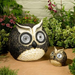 New Set of 2 Solar Garden Lights Owl Shaped Large Small Eye Lamps