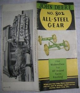 1936 John Deere JD No. 802 All Steel Gear original 6 page brochure art