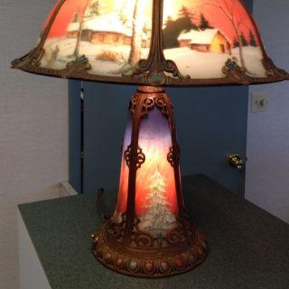 Antique Reverse Painted Lamp Circa 1920s Excellent Condition